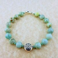Silver Celtic Knot beaded bracelet w/ turquoise crystals and crysocolla gemstone