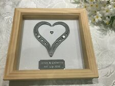PERSONALISED HAND FORGED HORSESHOE HEART in WAXED PINE FRAME & Engraved Plaque