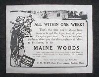 "(764L) RAILROAD BOSTON and MAINE CABIN HUNTING DEER 1908 ADVERT REPRINT 11""X14"""