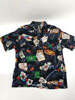 Vintage FERUGINI Gambling Shirt Las Vegas Casino Cards Hawaiian S/S Mens Size XL