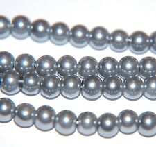 BARGAIN ~ 1 Strand Round PEARL GLASS Beads ~ 6mm ~ Silver Grey ~ 75 beads