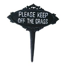 Please Keep off The Grass Lawn Sign Cast Iron Garden Plaque Spike 20x23 Cm