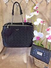 NEW Guess Black G Logo Embossed Purse Satchel City Lights Tote & Wallet SET 2 PC