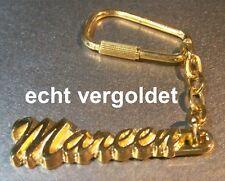 EDLER SCHLÜSSELANHÄNGER MAREEN ECHT VERGOLDET GOLD NAME KEYCHAIN KEYRING NEU