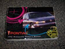 Pontiac Bonneville 1992 Owner's Manual 92 GM
