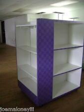 Retail Shelving Rack 4 Sided White & Purple Box Shoe Display W/ Mirror