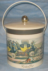 Coaching Metal Canister Lidded Ice Bucket Tin Large