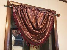 Royal Velvet Hilton Damask Rod Pocket Waterfall Valance 58 W x 38 L Majestic Red
