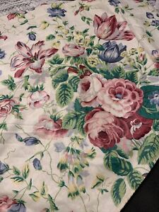 """Vintage WAVERLY  Valance Sateen Floral Roses Lilac Peony Scalloped edge 78"""""""
