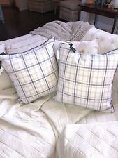"2 NWT Ralph Lauren Reversible GRAY Cream Plaid  20"" Throw Pillow Feathers"
