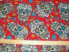 Fleece Fabric (DT)  Bright  Dia De Los Muertos Sugar Skulls on RED BTY