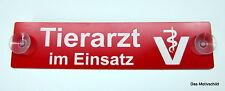 Tierarzt im Einsatz, Feuerwehr,Gravur,Schild,19 x 4,5 cm,Kunststoff,Rot,2 Sauger