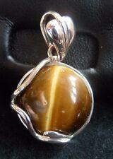 New TIGER'S EYE silver PENDANT Round brown striped gemstone Leaf shaped bale