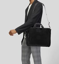 TUMI Black Canvas & Leather Large Briefcase Laptop Bag Carry On EXC