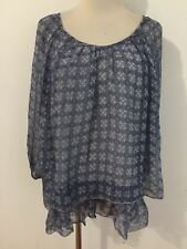PIAZZA ROMA Italy Silk Scoop Neck Tiered Blouse Semi-Sheer Blue Floral XS