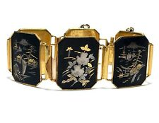 Vintage Estate Damascene Enamel  Ornate Panel Link Large Bracelet
