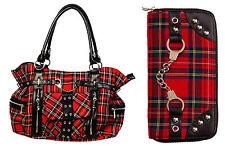 Banned Red Tartan HANDBAG & WALLET Gift SET Shoulder School Bag A4 Rockabilly