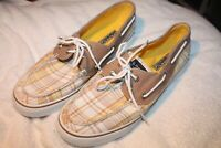 Sperry Top-Siders Yellow & Tan Plaid Women's Boat Shoes Size 9.5M  #9755869