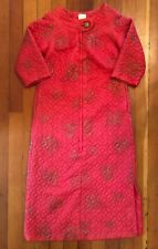 Linda Of California Morning, House Jacket. Long. Pink Red With Gold. Quilted