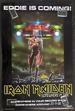 """IRON MAIDEN Somewhere In Time 1986 Capitol PROMO POSTER """"Eddie Is Coming"""" HUGE!"""