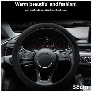 1Pc Black Turn Fur Car Steering Wheel Cover Auto Interior Decoration Accessories