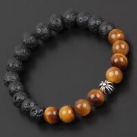 MEN'S Tiger Eye and Lava Stone Bracelet 8 MM BEADS/8IN LONG Charm Bracelet