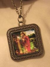 Swirled Rim Brasstone Jesus I Stand at the Door & Knock Cameo Pendant Necklace