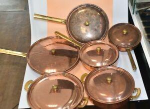 Spring Schweiz 4 Kupfer Pfannen und 2 Töpfe alle mit Deckel Culinox