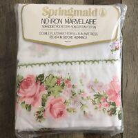 Vintage NOS Springmaid Double Flat Sheet No Iron Marvelaire Rose Floral