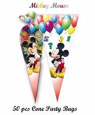 50 x CONE PARTY BAGS Kids Birthday Sweet Loot Filler Toys MICKEY MOUSE