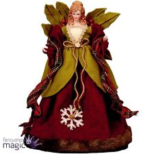 40cm Natural Red Xmas Christmas Tree Top Topper Angel Woodland