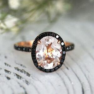 3Ct Oval Peach Morganite Black Diamond Halo Engagement Ring 14K Rose Gold Finish