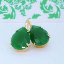 Leverback Glass Brass Handcrafted Earrings
