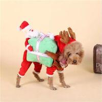 Funny Pet Dog Clothes Christmas Santa Nick Costume Carry Gift Box Apparel Wen99