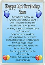 Happy 21st Birthday Son Poem Jumbo Magnet Ideal Birthday Gift M85