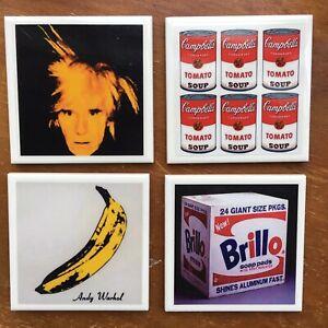 Andy Warhol Art Image Tile Drink Coasters 4 Piece Set