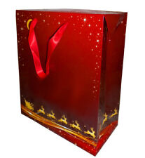 10 x FLAT TOP GIFT BAGS (large - 27x13x34cm high) RED/GOLD XMAS SANTA REINDEER