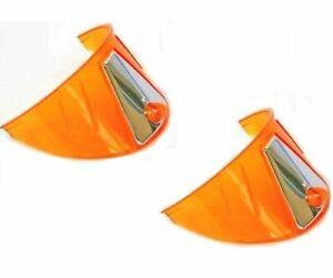 """7"""" Headlight Headlamp Light Bulb Trim Ring Cover Shield Visors Orange Amber Pair"""