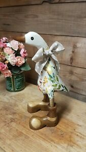 Tilly Duck Wooden Bamboo Duck in Welly Wellies Wellington Boots With Leaves