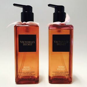2 Victoria's Secret Rose Violet Fragrant Hand & Body Cleansing Gel 8.4 oz