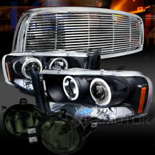 02-05 Dodge Ram Black Halo LED Projector Headlights+Smoke Fog Lamps+Grille