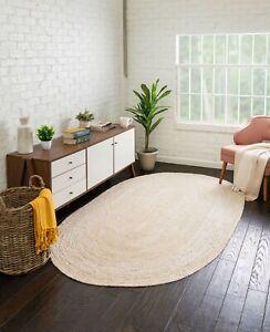 Rug 100% Jute Oriental Oval white Reversible Carpet Handmade Floor Mat Area Rug
