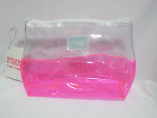 (1) NWT Victoria's Secret Pink/Clear Colorblock Jelly/PVC Logo Badge Makeup Bag