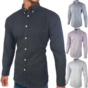 Blu Apparel Long Sleeve Shirt  Mens LS Striped Smart Black Navy Blue UK S-4XL