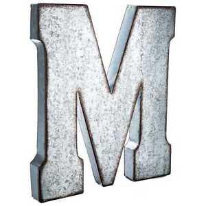 "20"" Silver Galvanized Vintage Metal Letter / Marquee ""M"". Monogram."