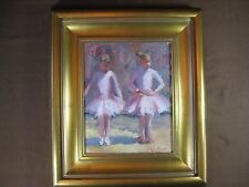 "James Moore Original Signed Oil Painting ""Baby Ballerinas"" Framed Size 14"" x 16"""