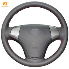 Black Genuine Leather Steering Wheel Cover Wrap for Hyundai Elantra 2008-2010