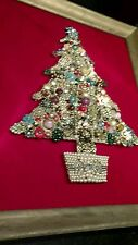 Vintage Rhinestone Jewelry Christmas Tree Framed Picture Art Red Pink Purple lit