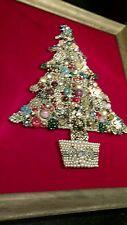 Vintage Rhinestone Jewelry Christmas Tree Framed Picture Art Red Pink Purple lit