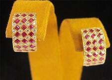 18k Yellow Gold French Cut Ruby Diamond Row Huggie Earrings Ladies Dress Elegant